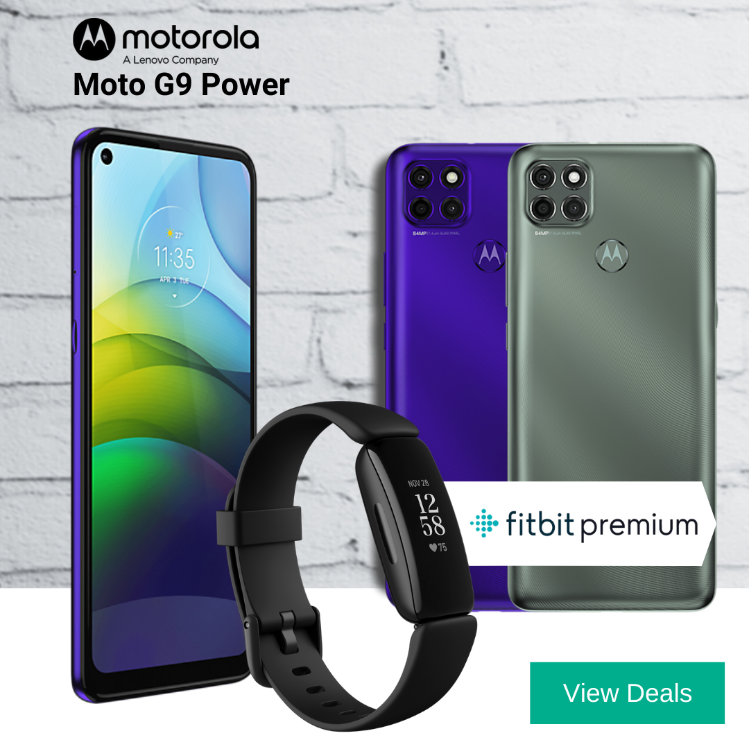 Motorola Moto G9 Power deals with 12 motnhs Free FitBit Premium and Free FitBit Inspire 2 fitness tracker.