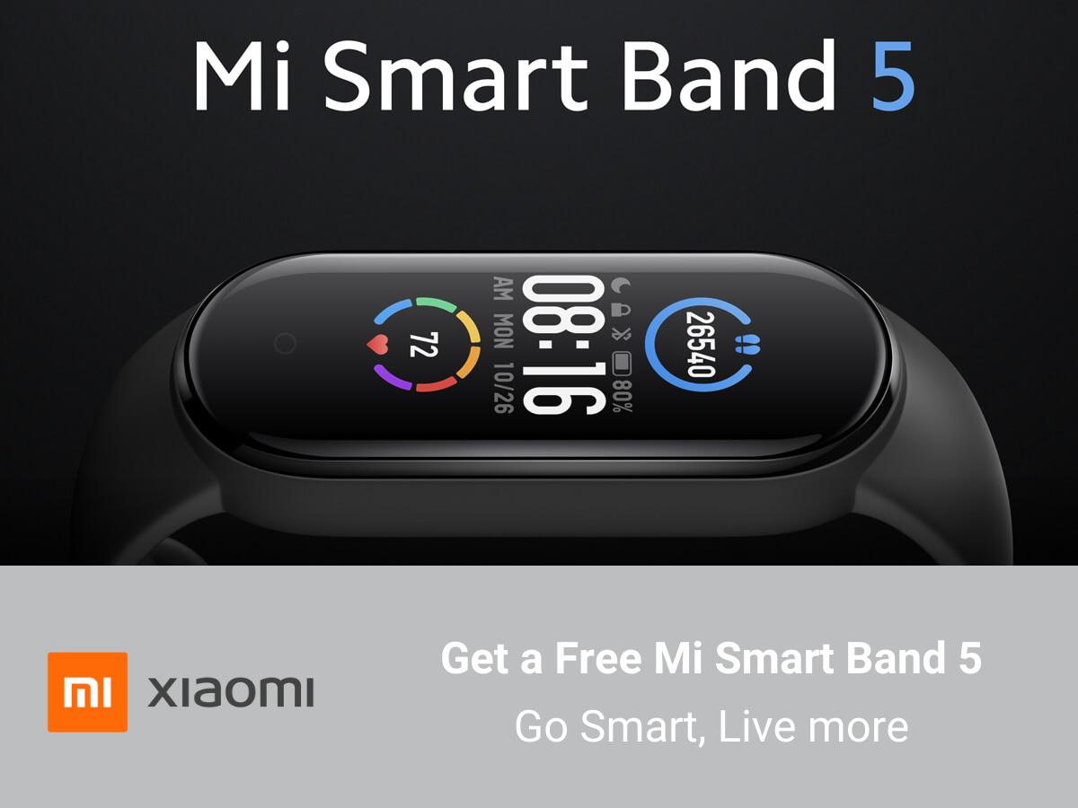 Free Mi Smart Band 5 with Xiaomi Redmi Note 9 Deals