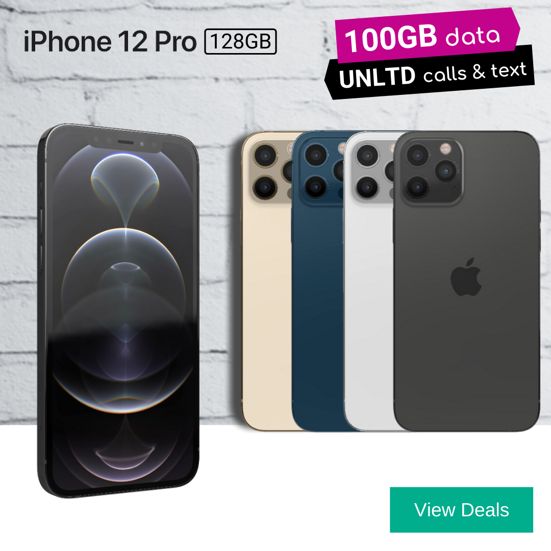 Lowest Monthly Prices for iPhone 12 Pro Deals offering 100GB of data.