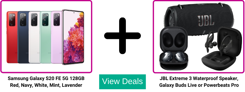 Choose Free Galaxy Buds Live, Powerbeats Pro earphones or a JBL Extreme 3 waterproof speaker with Samsung S20 FE 5G unlimited data deals from Three.