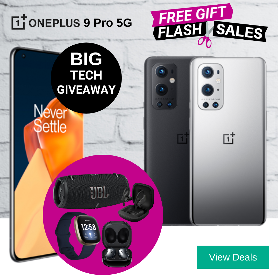 Choose a free FitBit Versa 3 smart watch, JBL Extreme 3 speaker, Galaxy Buds Live or Powerbeats Pro earphones with OnePlus 9 Pro unlimited data contracts