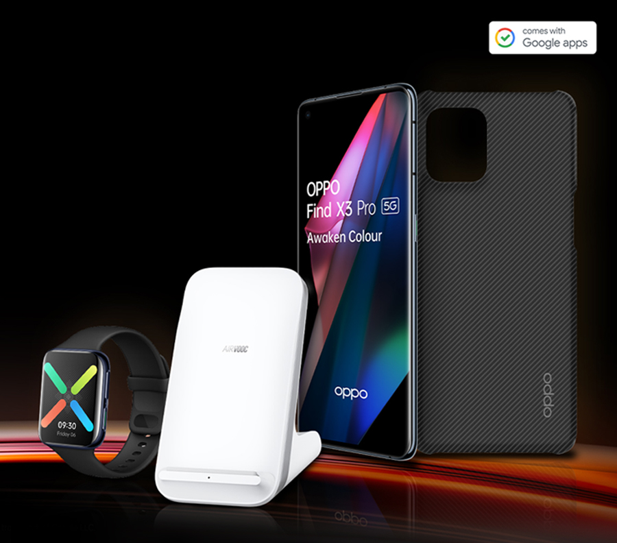 Free Oppo Smartwatch, Wireless Charger and Case inside Oppo's Free Gifts Box with Oppo Find X3 Pro 5G pay monthly deals