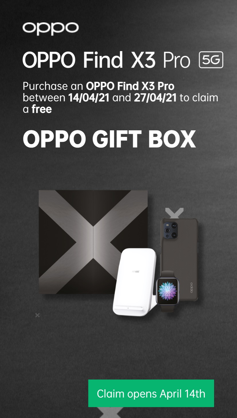 Oppo Find X3 Pro contract deals with Free Gifts Box including a Free Oppo smartwatch, Free wireless charger and free kevlar case.