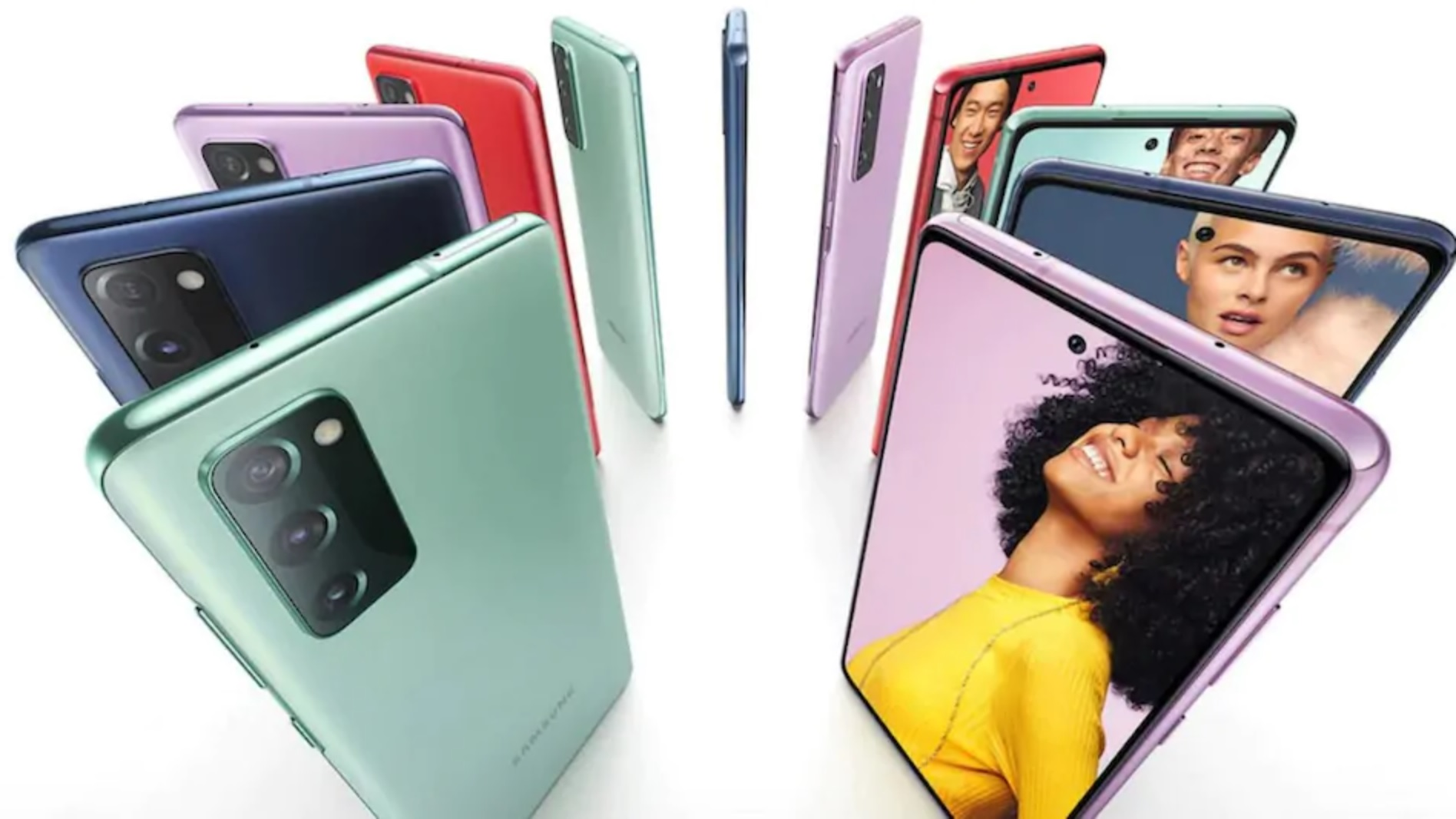 Navy Blue, Mint Green, Lavender Purple, Red and White Samsung Galaxy S20 FE 5G