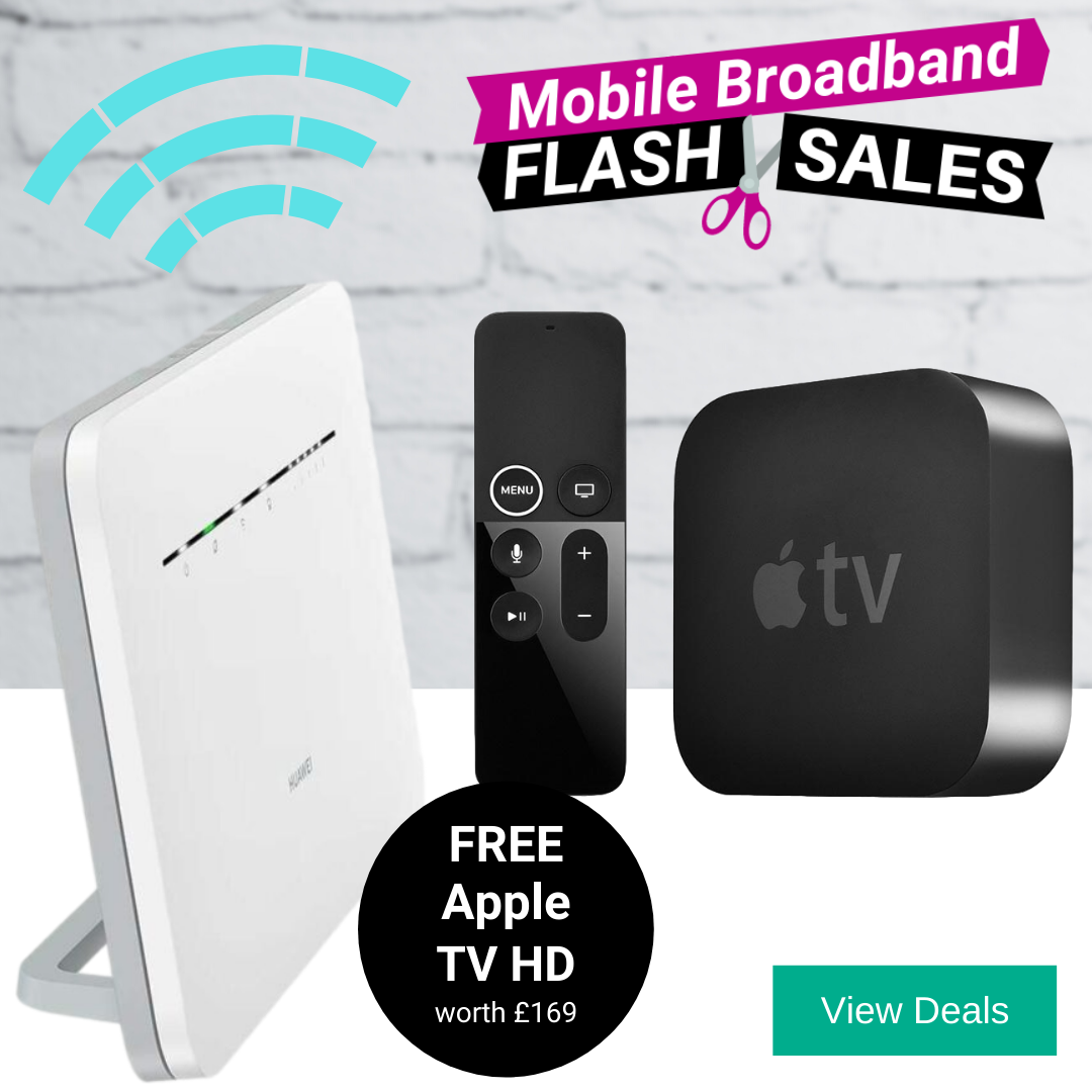 Free Apple TV HD, Apple TV+ and 4G Router with Unlimited Broadband Deals
