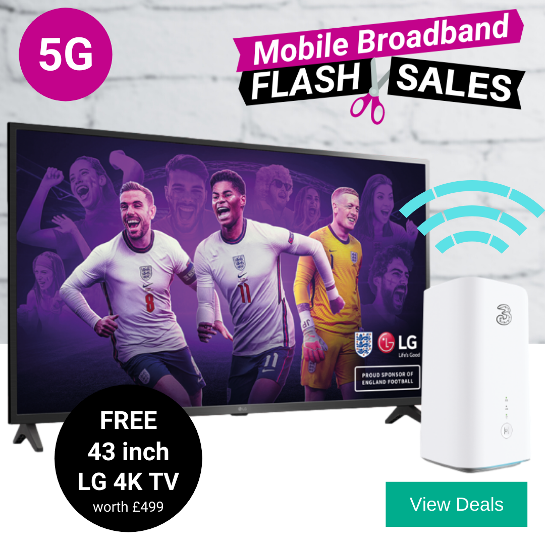 Free 43 inch 4K HD TV with the cheapest 5G home broadband deals