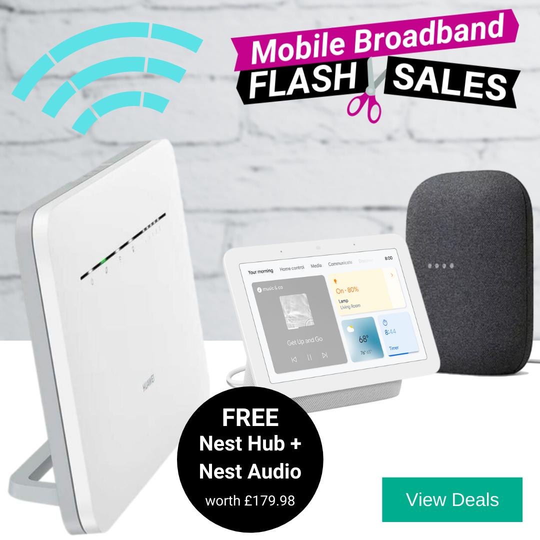 Free Google Nest Audio, Nest Hub & 4G Router Broadband Deals