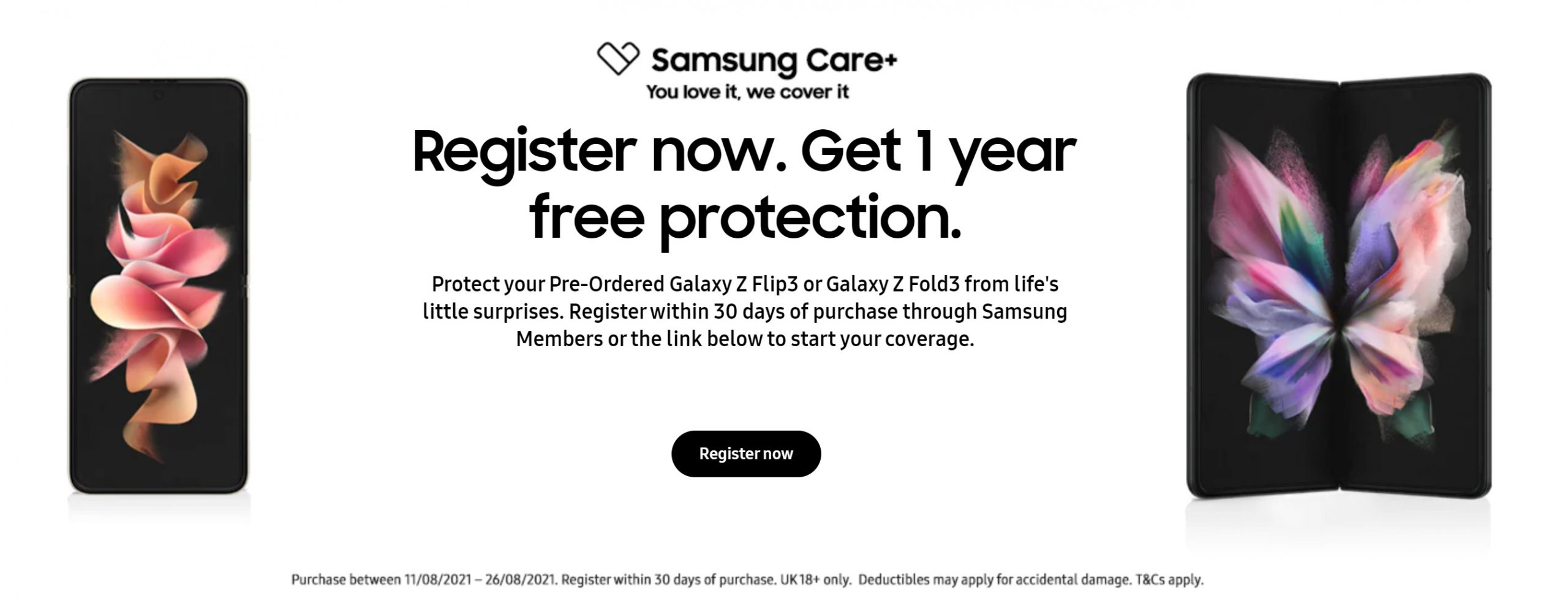 Free Samsung Care+ insurance with Galaxy Z Flip3 and Fold3 deals