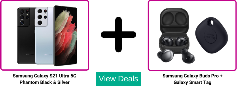 Samsung S21 Ultra contract deals with Free Galaxy Buds Pro and Smart Tag wirth £248