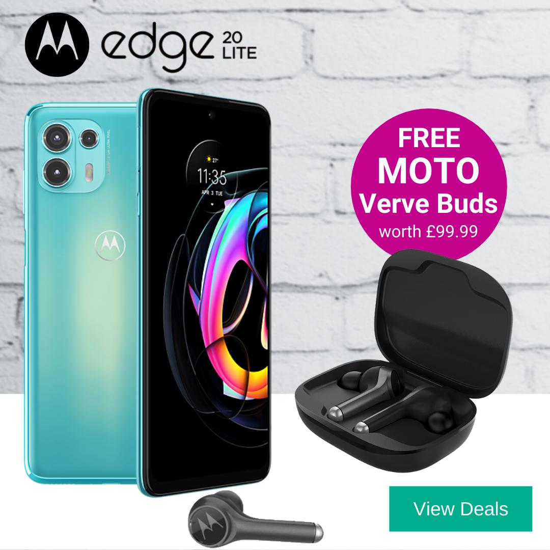 Moto Edge 20 Lite 5G deals with Free Motorola Verve Buds