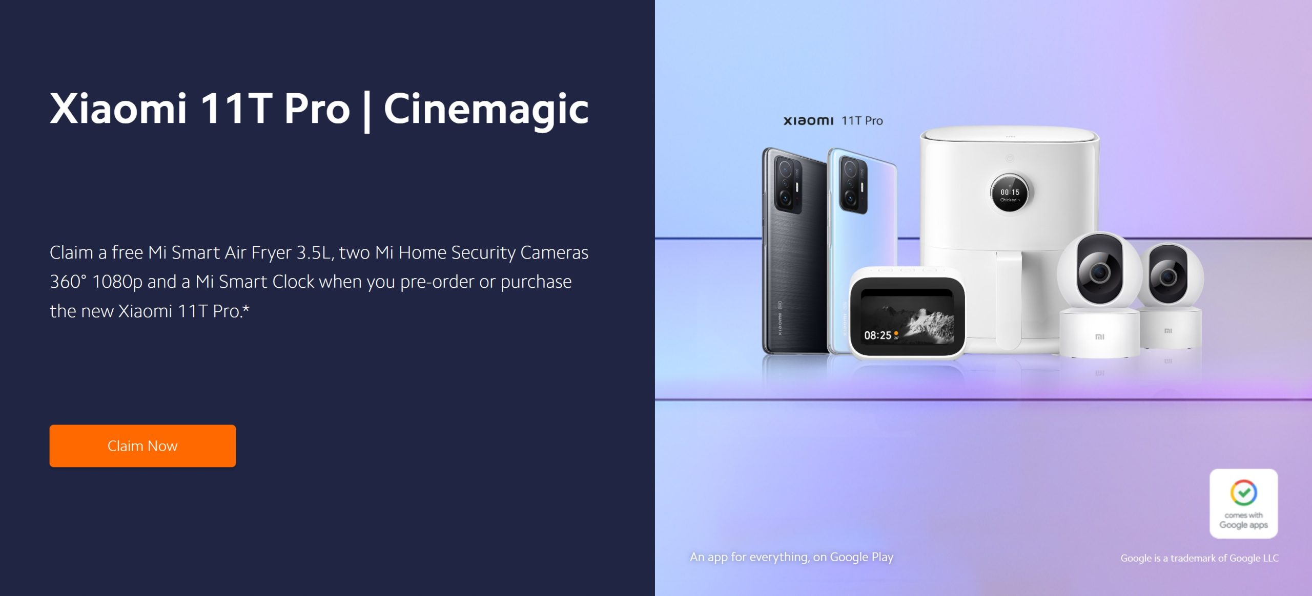 Free Xiaomi Air Fryer, 2 X Home Security HD Cameras and a Free Smart Clock with Xiaomi Mi 11T Pro deals